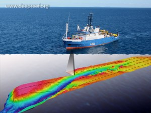 Southern Surveyor indicating how multibeam technology works
