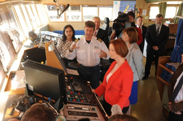 Prime Minister Julia Gillard touring Southern Surveyor
