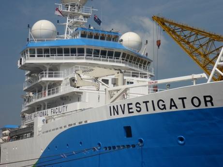 RV Investigator flying the Australian flag