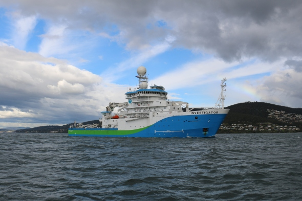 RV Investigator in the Derwent River (image CSIRO Chris McKay)