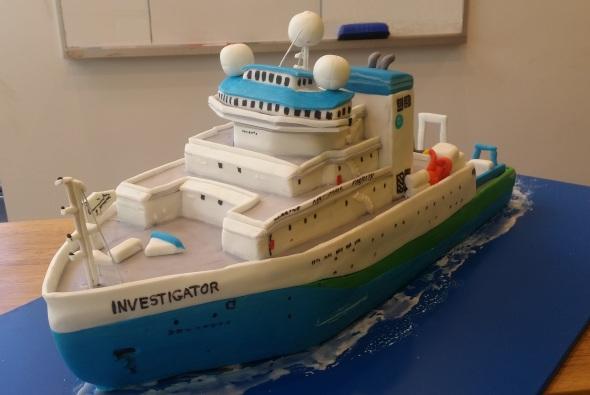 RV Investigator first birthday cake
